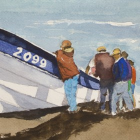 """In what place I (Cobquecura fishermen)"", by Gustavo Guzman Staforelli"