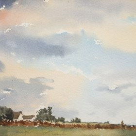 """""""Pink settling over field; France"""", by Gustavo Guzman Staforelli"""